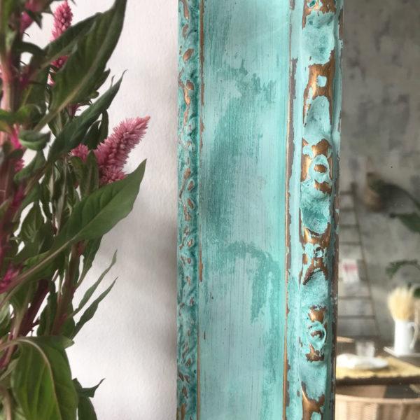 Espejo color turquesa y dorado