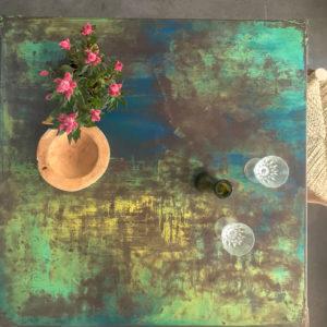 mesa de chapa de hierro