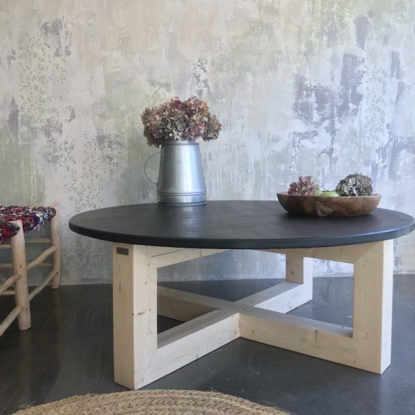 mesa de pizarra y pie de madera